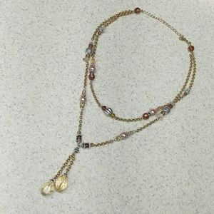 Crystal Pearl Amber and silver findings on gold ch